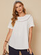 Floral Ribbon Patchwork O-neck Short Sleeve Cotton T-Shirt - White