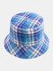 Women & Men Plaid Pattern Retro Port Style Windproof Soft All-match Travel Bucket Hat - #08