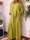 Loose Solid Color Long Sleeve Casual Maxi Dress - Yellow