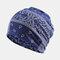 Women's Ethnic Cotton Beanie Vintage Elastic Hat Breathable Turban Cap - Blue