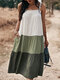 Contrast Color Sleeveless Backless Pocket Loose Casual Dress For Women - Green
