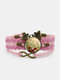 Vintage Red Floral Dog's Tail Grass Pattern Print Butterfly Braided Gemstone Multi-layer Bracelet - Pink