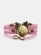 ヴィンテージレッドフローラルドッグテールグラスパターンプリントバタフライブレイドジェムストーンマルチレイヤーブレスレット - ピンク