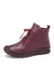 SOCOFY Genuine Leather Stitching Solid Color Soft Wearable Sole Casual Flat Short Boots - Wine Red