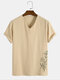 Designer Mens 100% Cotton Breathable Chinese Style Bamboo Embroidery V-Neck T-Shirts - Apricot