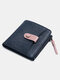 Women Genuine Leather Cow Leather Multifunction Coin Purse Money Clip Short Wallet - Blue