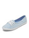 Casual Brief Shallow Mouth Slip-On Breathable Soft Comfy Non-slip Women's Canvas Shoes - Light Blue