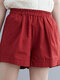 Plain Elastic Waist Casual Shorts with Pocket - Red