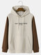 Mens Letter Pattern Knit Stitching Sleeve Casual Hoodies With Kangaroo Pocket - Apricot