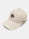 पुरुष कढ़ाई पत्र पैटर्न सादा रंग बेसबॉल टोपी आउटडोर सनशेड समायोज्य टोपी - बेज