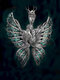 Vintage Angel Wings Inlaid Diamond Women Necklace Butterfly Pendant Necklace Jewelry Gift - Silver