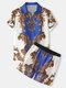 メンズヨーロピアンスタイルのバロックプリントボタンアップストリートツーピースの衣装 - 青