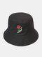ユニセックス コットン ソリッド カラー レッド ローズ プリント シンプルな日焼け止めバケット ハット - 黒