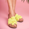 Women Butterfly Knot Comfy Wearable Beach Casual Flat Slippers - Yellow