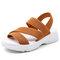 Plus Size Women Simple Solid Color Elastic Band Wearable Casual Sandals - Khaki