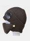 Men & Women Plus Velvet Thick Warm Neck Face Ear Protection Headgear Knitted Hat Mask Pilot Glasses - Coffee