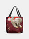 Women Felt Elephant Wearing Christmas Hat Print Handbag Tote - Red