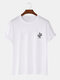 Mens Cactus Chest Print Casual Short Sleeve 100% Cotton T-Shirts - White