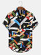 Mens Colorful Geometric Print Street Short Sleeve Shirts With Pocket - Black