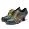 SOCOFY Vintage Leather Floral Plaid Splicing Lace-up Green Chunky Heel Pumps - Green