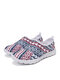 SOCOFY Large Size Light Weight Bohemian Unique Style Pattern Net Cloth Breathable Slip Resistant Casual Running Shoes Unisex Sneakers - Red
