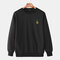 Mens Casual Loose Solid Color Pullover Sweatshirts With Cartoon Pineapple - Black