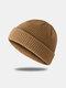 Bonnet unisexe en laine tricoté de couleur unie Casquettes de crâne Bonnets sans bord - Kaki