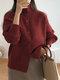 Cárdigan de manga farol con botones y cuello alto de talla grande - Vino rojo