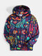Mens Funny Abstract Cat Print Loose Leisure Drawstring Pullover Hoodie - Black
