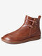 Womens Stitching Slip On Solid Color Slip Resistant Winter Ankle Boots - Dark brown