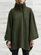 Solid Color High Neck Long Sleeve Loose Casual Coat For Women - Green