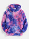 Mens Tie-Dye Print Plush Pouch Pocket Teddy Hoodie - Blue