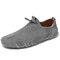 Men Handmade Leather Shoes Soft Elastic Slip-on Driving Loafers Shoes - Gray