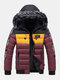 Mens Winter Thicken Tape Padded Fur Hooded Puffer Jacket Warm Down Coat - Red