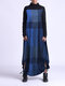 Contrast Color Plaid Print Patchwork Long Sleeve Maxi Dress For Women - Navy