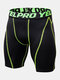 Mens Contrast Seam Quick Dry Breathable Stretch Letter Waistband Skinny Sport Shorts - Fluorescent Green