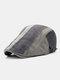 Men Cotton Stitching Stripes Cap Outdoor Leisure Wild Forward Hat Flat Cap - Gray