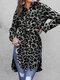 Leopard Print Split Hem Long Sleeve Sexy Plus Size Shirt - Dark Grey