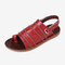 LOSTISY Hook Loop Clip Toe Handmade Stitching Casual Flat Non Slip Slingback Sandals - Red