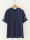 Casual Embroidery Short Sleeve Plus Size Shirt for Women - Navy