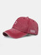Men Washed Cotton Letter Pattern Baseball Cap Outdoor Sunshade Adjustable Hat - Red