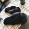 Soft Furry Sole Shoes Non-slip For Women Home Outdoor Slippers Flip Flops - Black