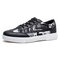 Men Fashion Stitching Pattern Comfy Wearable Casual Court Sneakers - Black