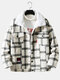 Mens Plaid Double Flap Pockets Woolen Lined Thick Warm Button Jacket - White