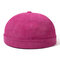 Womens Adjustable Solid French Corduroy Bucket Cap Retro Vogue Crimping Warm Brimless Hats - Rose Red
