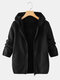 Casual Prismatic Long Sleeve Plus Size Hooded Coat - Black