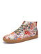 SOCOFY Women Exquisite Stitched Floral Printed Comfy Wearable Lace Up Casual Sneakers Running Walking Shoes Stitching Skate Shoes High-top Sport Shoes For Easter Gifts - Colorful