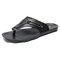 Men Leather Slip Resistant Metal Buckle Soft Casual Beach Slippers - Black