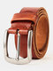 Men Cow Leather Alloy Pin Buckle Belt Solid Color Casual Adjustable Belt - Brown Red
