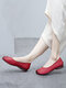 Women Ethnic Comfy Soft Wide Fit Round Toe Slip On Loafers Casual Flat Shoes Ballet Shoes - Red